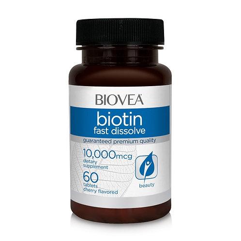 BIOTIN 10,000 MCG (Fast Dissolve) 60 Cherry Flavored Mini Tablets