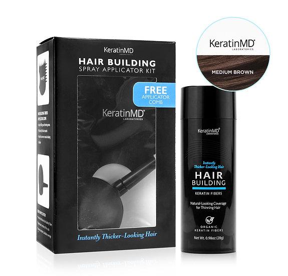 HAIR BUILDING FIBERS (Medium Brown) 60 Day Supply + APPLICATOR