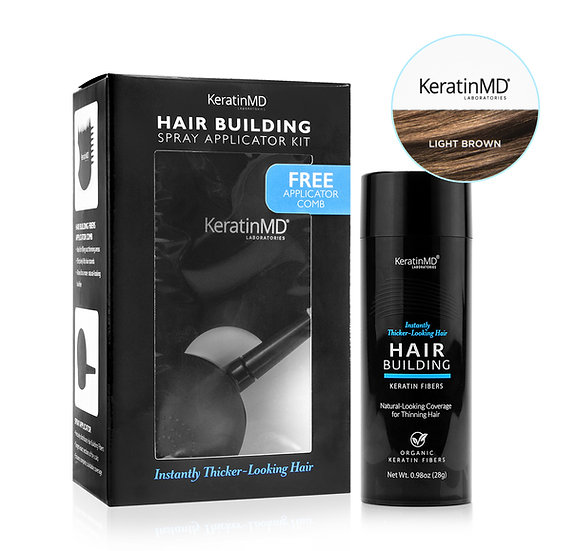 HAIR BUILDING FIBERS (Light Brown) 60 Day Supply + APPLICATOR