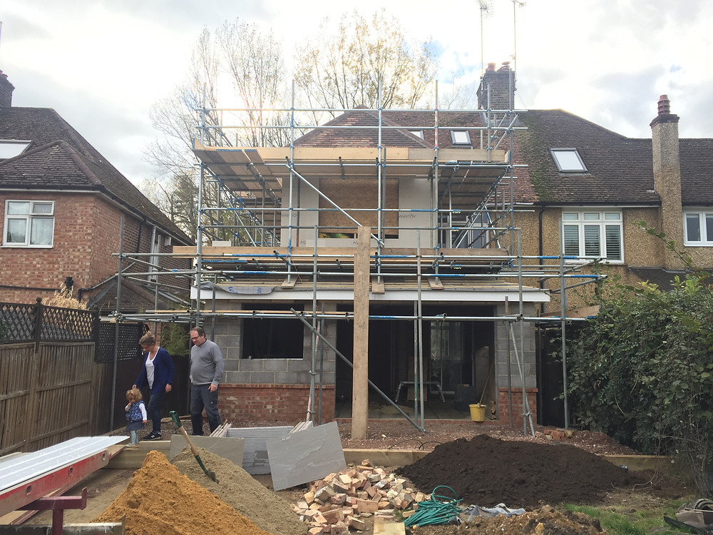 Two storey Rear and side extension progressing well in Petersfield.
