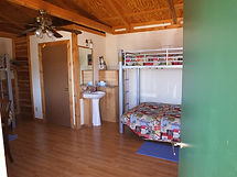 Cabin 1 Bunks, Beds and Bath