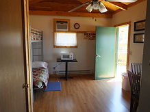 Cabin 1 Entrance, Bunk and Microwave Oven