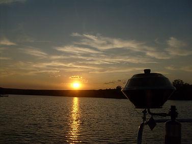 The sun setting over Dock 44 Marina