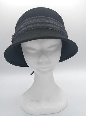 20w340050 cappello nero in lana con dett