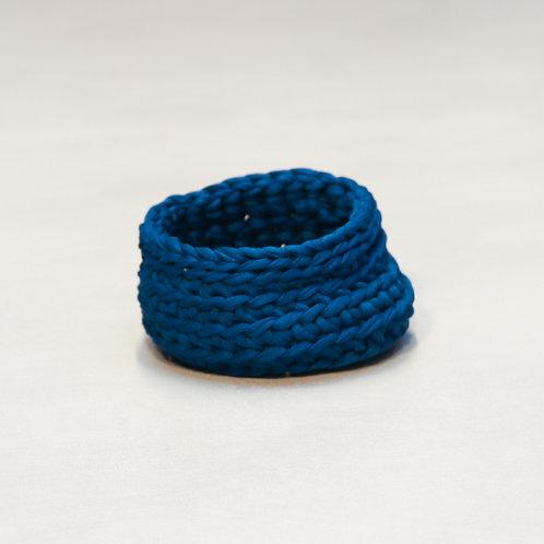 Panier en coton crocheter BLEU MARINE