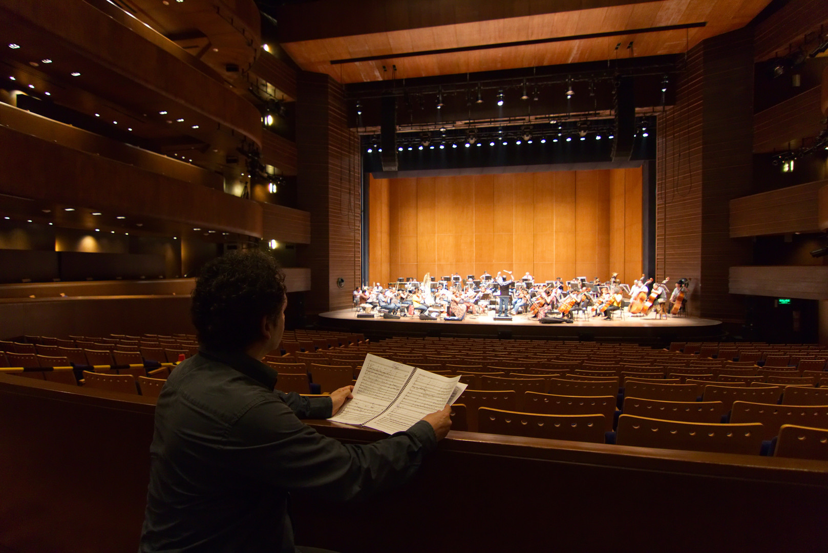 At Rehersal of my work 'Presto' for Orchestra - Gran Teatro Nacional. Lima