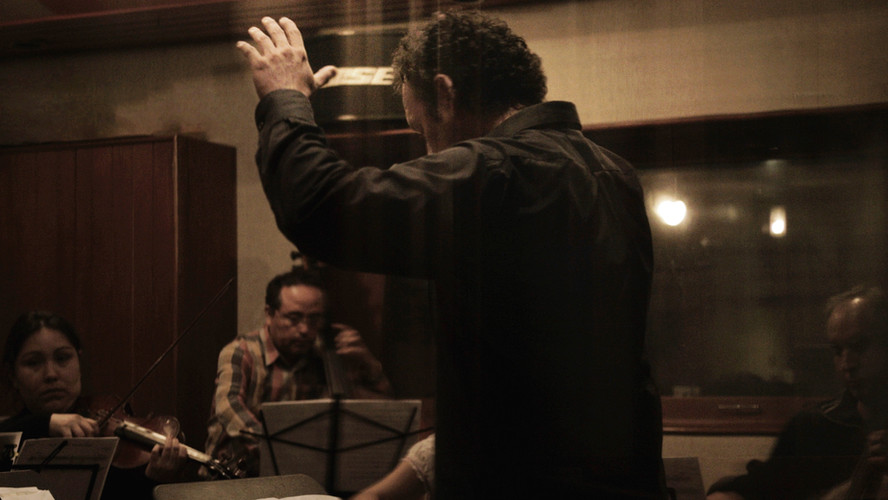 Conducting the recording of my Film Music for Ayaymama