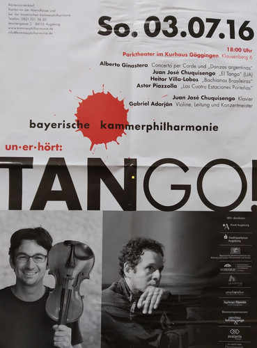 Poster Concert Kammerphilarmine Augsburg  Premier Tango Metamorphosen for String Orchestra