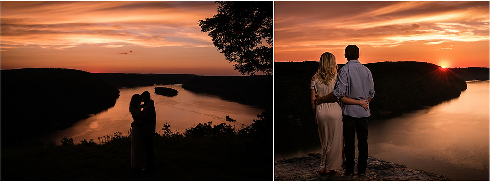 pinnacle overlook in holtwood pa couple overlooking beautiful sunset on top of mountain with body of water