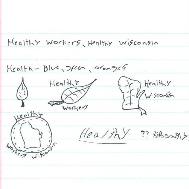 Healthy Workers, Healthy Wisconsin Logo Sketches