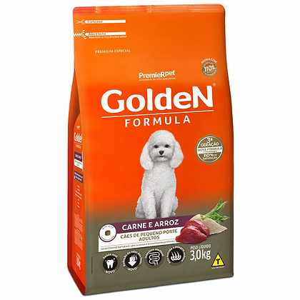 Golden Cães Adultos Raças Pequenas - Carne e Arroz - 3 kg