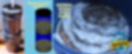 Foto do filtro (acima esq), esquema de funcionamento (acima dir), material retido durante 1 banho realizado (abaixo).