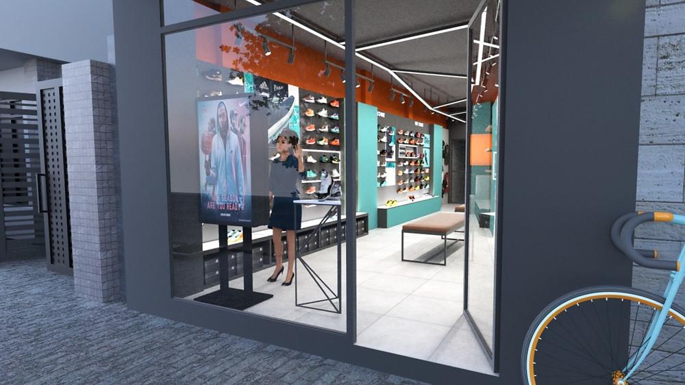 Borne interactive double écran en vitrine et à l'intérieur du magasin.