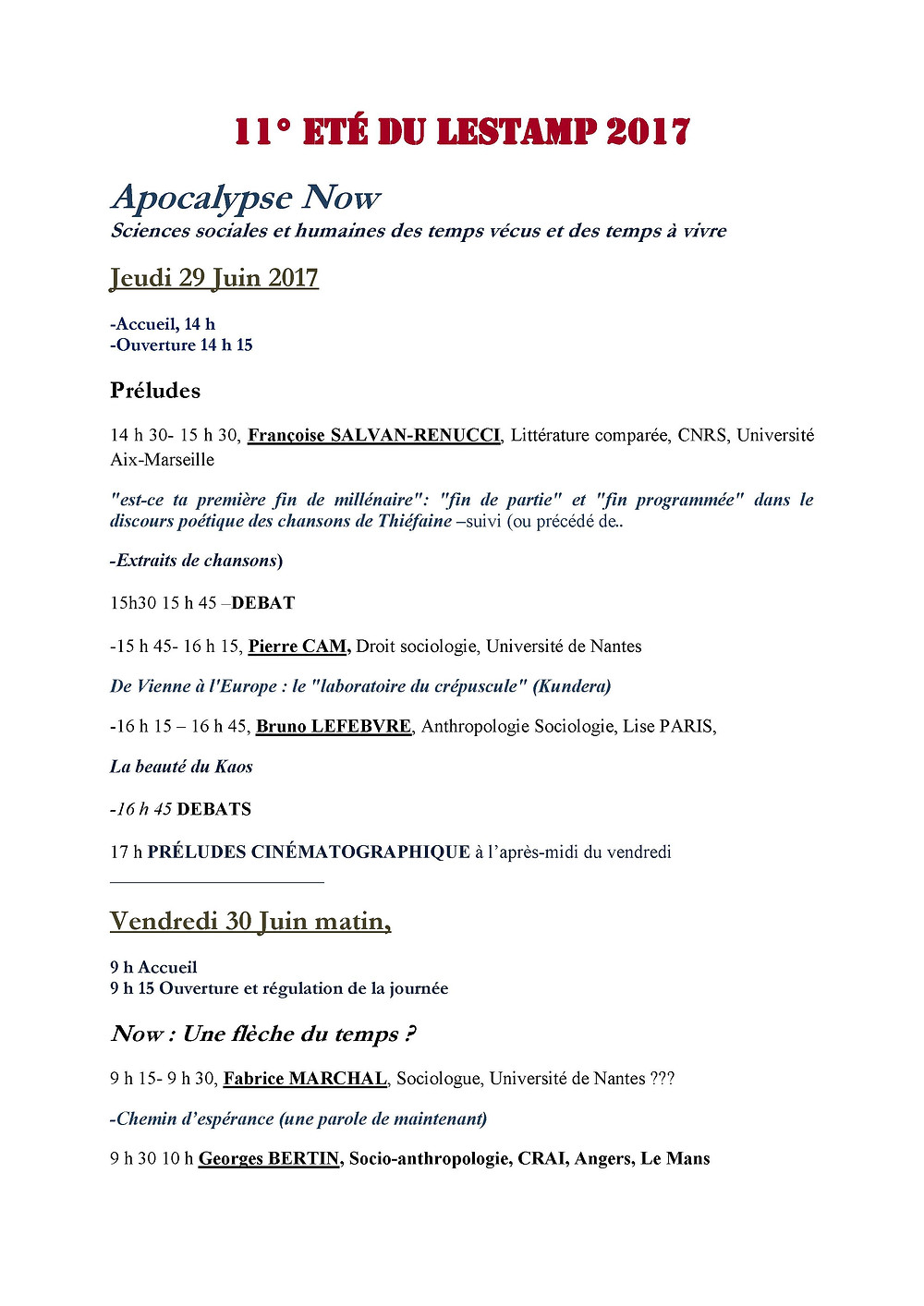 Université de Nantes, Amphithéâtre Jules Vallès, Entrée libre et gratuite
