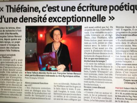 « Thiéfaine, c'est une écriture poétique d'une densité exceptionnelle », Le Progrès, édition du Puy-