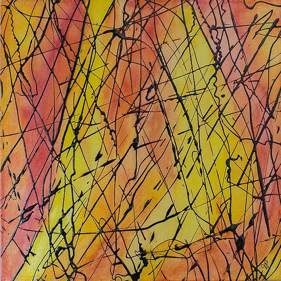 "Campfire 12"" x 12"" x 1 1/2"" Original Acrylic Painting on Canvas"