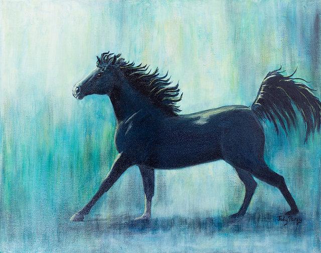 "Moonlight Run - 16"" x 20"" x 1 1/2"" Original Acrylic Painting on Canvas"