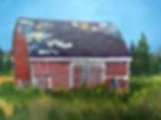 Margaret W., Red Barn, 12 x 26 oil on ca