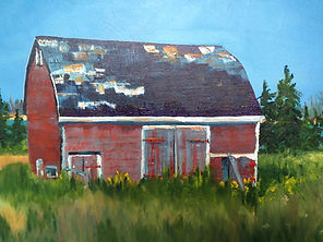 Margaret W., Red Barn, 12 x 26 oil on ca