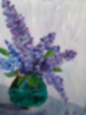 Margaret W, Lilacs, Acrylic on Yupo 325.