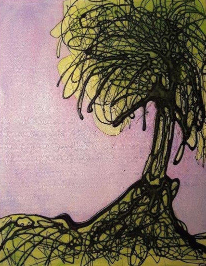 "Quirky Old Tree - 11"" x 14"" x 1 1/2"" - Original Acrylic Painting on Canvas"