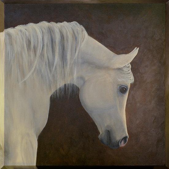 """White Knight - 24"""" x 24"""" x 1 1/2"""" Original Acrylic Painting on Beveled Edge"""