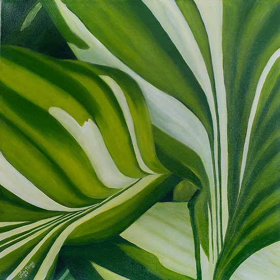 "Hosta Rhythm 24"" x 24"" x 1 1/2""  Original Acrylic Painting on Canvas"