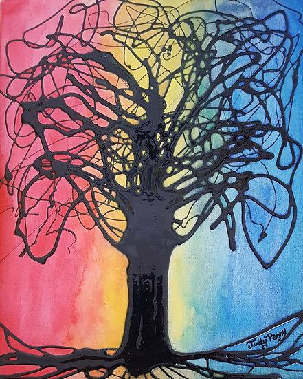 "Rainbow Sky - 8"" x 10"" x 1"" - Original Acrylic Painting"