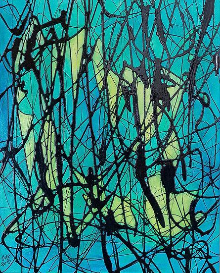 "Tropical Sea Reflection - 16"" x 20"" x 1 1/2"" Original Acrylic Painting on Canvas"