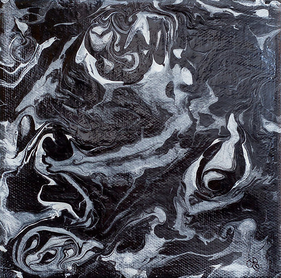 "Night Mare - 6"" x 6"" x 1 /2"" Original Poured Acrylic Painting on Canvas"