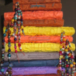 Linda's Journals 2002 stacked with beads