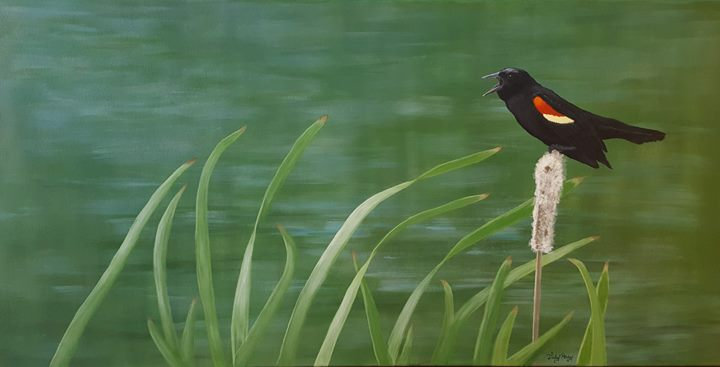 "The Feisty Red-Winged Blackbird - 24"" x 48"" x 1 1/2"" Original Acrylic Painting"
