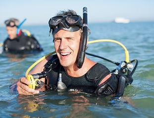 Dykare Förberedelser för Dyk