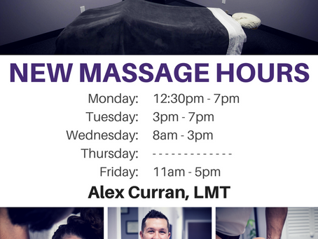 New Massage Hours: Alex Curran