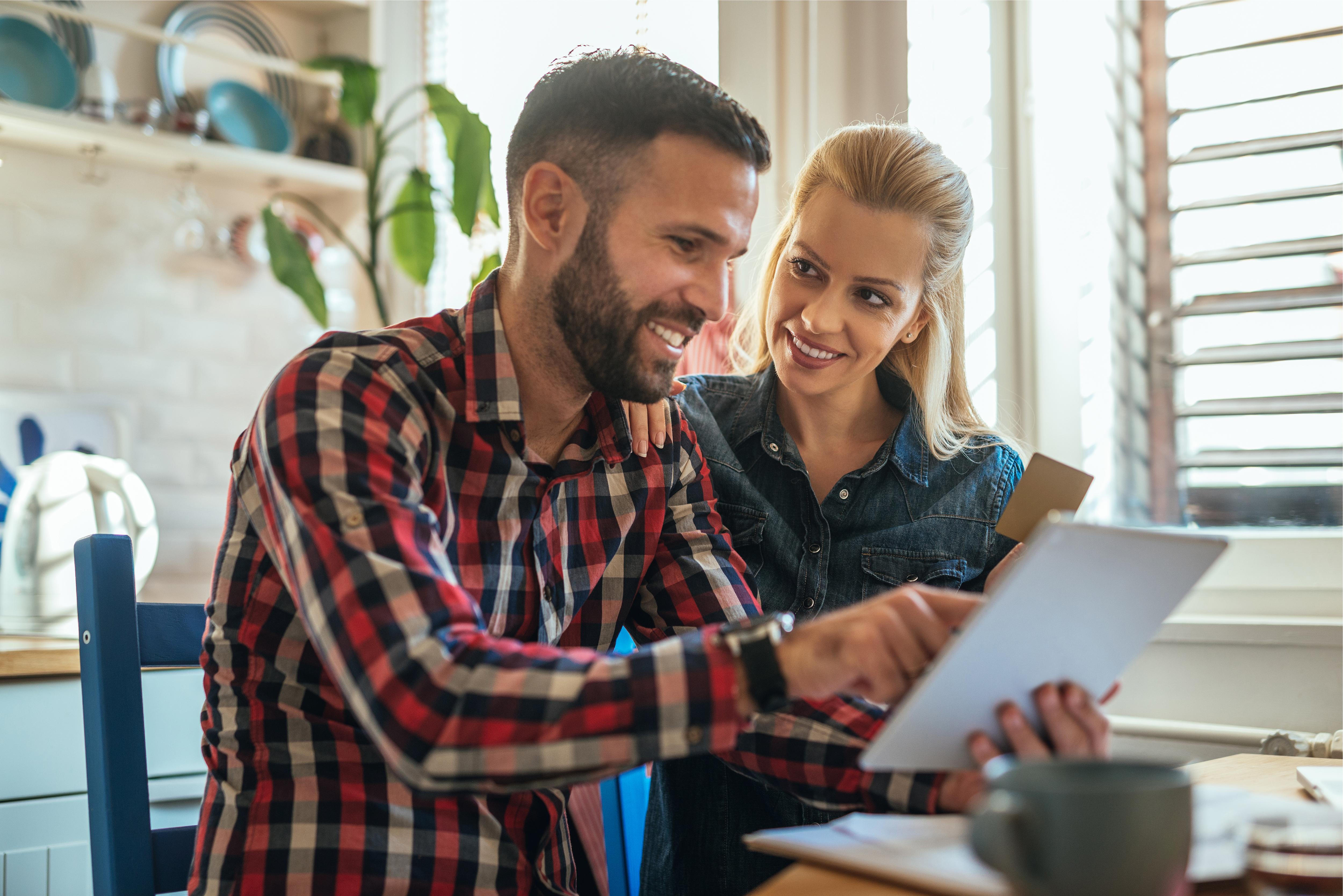 Couple spending money online on the inte