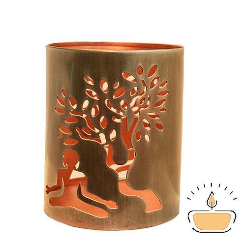 Buddha & Tree Metal Tea Light Holder