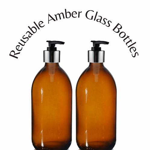 Amber Glass Pump Dispenser Bottles - 500ml (Pack of 2)