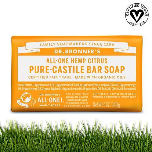 Dr. Bronner's Organic Citrus Castile Soap Bar (Face, Body & Shampoo)