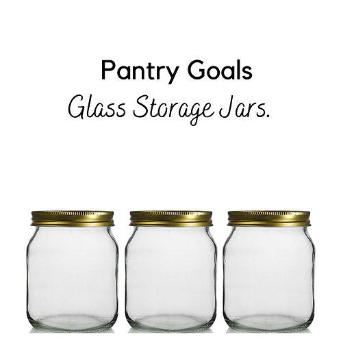 Crystal Clear Large Glass Jars & Shimmering Metal Screw Lid - 450ml (Pack of 3)