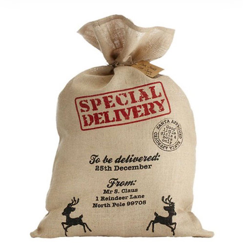 Large Hessian Festive Sack