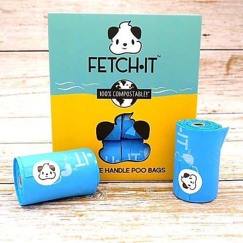 FETCH·IT Compostable  Poop Bags with Tie Handles (120 Bags)