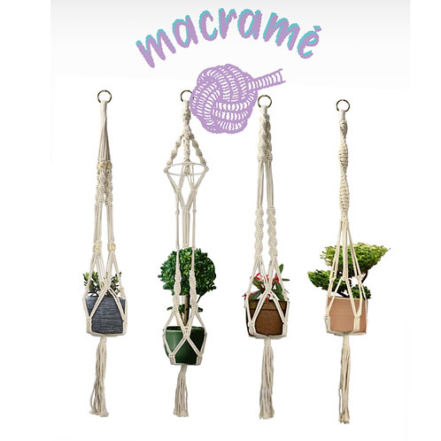 Cotton Macrame Plant Pot Holders (Set of 4)