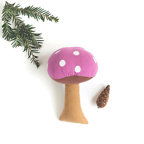 Pink Toadstool Cotton Soft Toy - World Fair Trade Certified