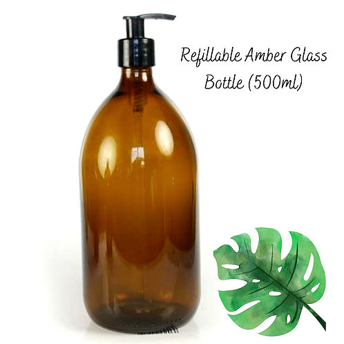 Amber Glass Pump Dispenser Bottle - 500ml