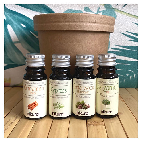 'His or Hers' Pure Essential Oils Gift Set (4 x 10ml ) + Kraft Card Tub