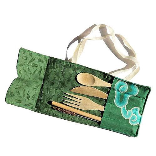 Fair Trade Reusable Bamboo Cutlery Set, Bamboo Straw + Cotton Travel Pouch