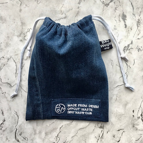 Repurposed Denim Face Mask Laundry Bag