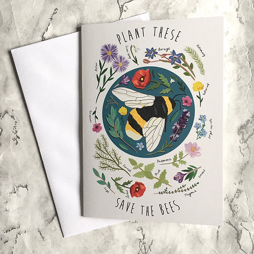 """""""Save The Bees"""" Greetings Card (Blank)"""