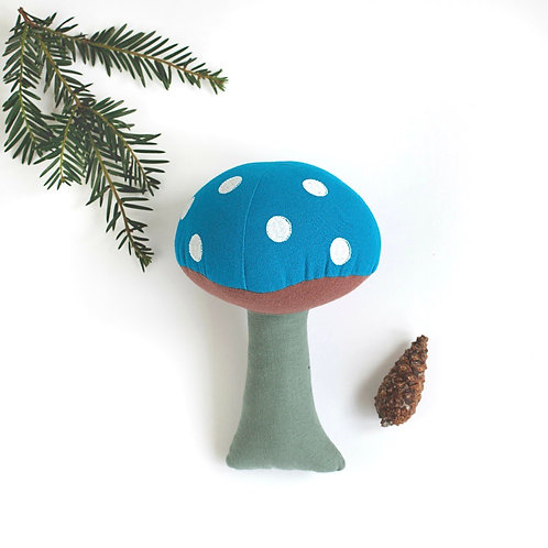 Blue Toadstool Cotton Soft Toy - World Fair Trade Certified