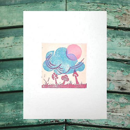 """Under the Mushroom Moon"" Hand carved lino print on Okawara Japanese Washi Paper"